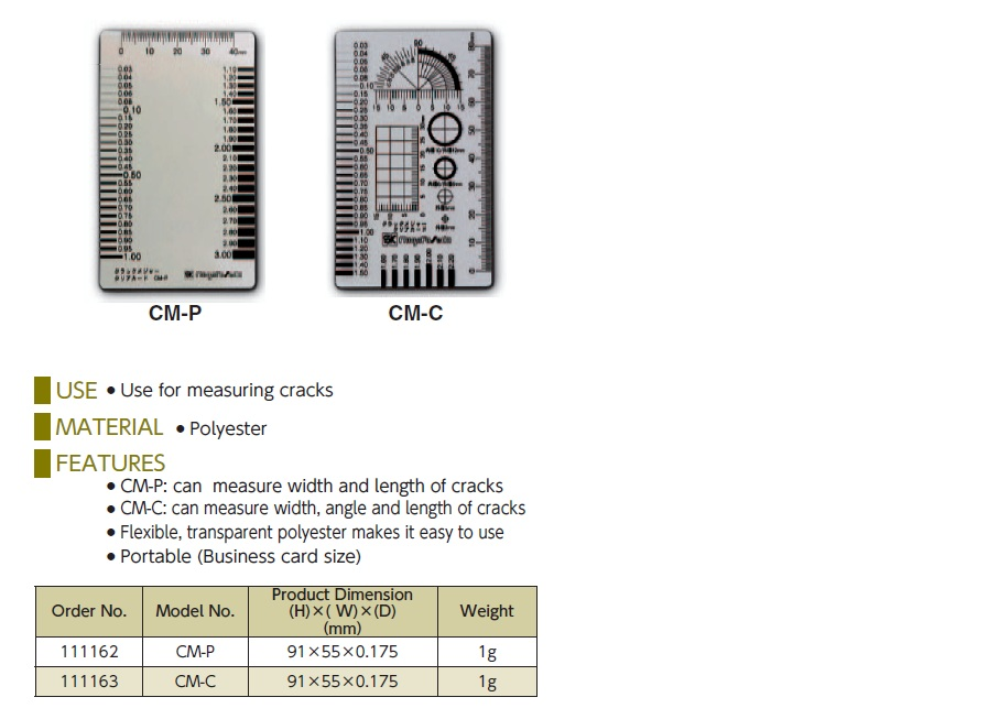 Ichiban Precision Sdn Bhd - SK - SK CRACK GAUGE/ CLEAR CARD TYPE