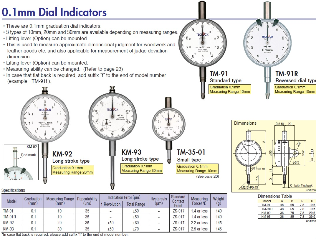 Types Of Dial Indicators : Ichiban precision sdn bhd teclock mm dial
